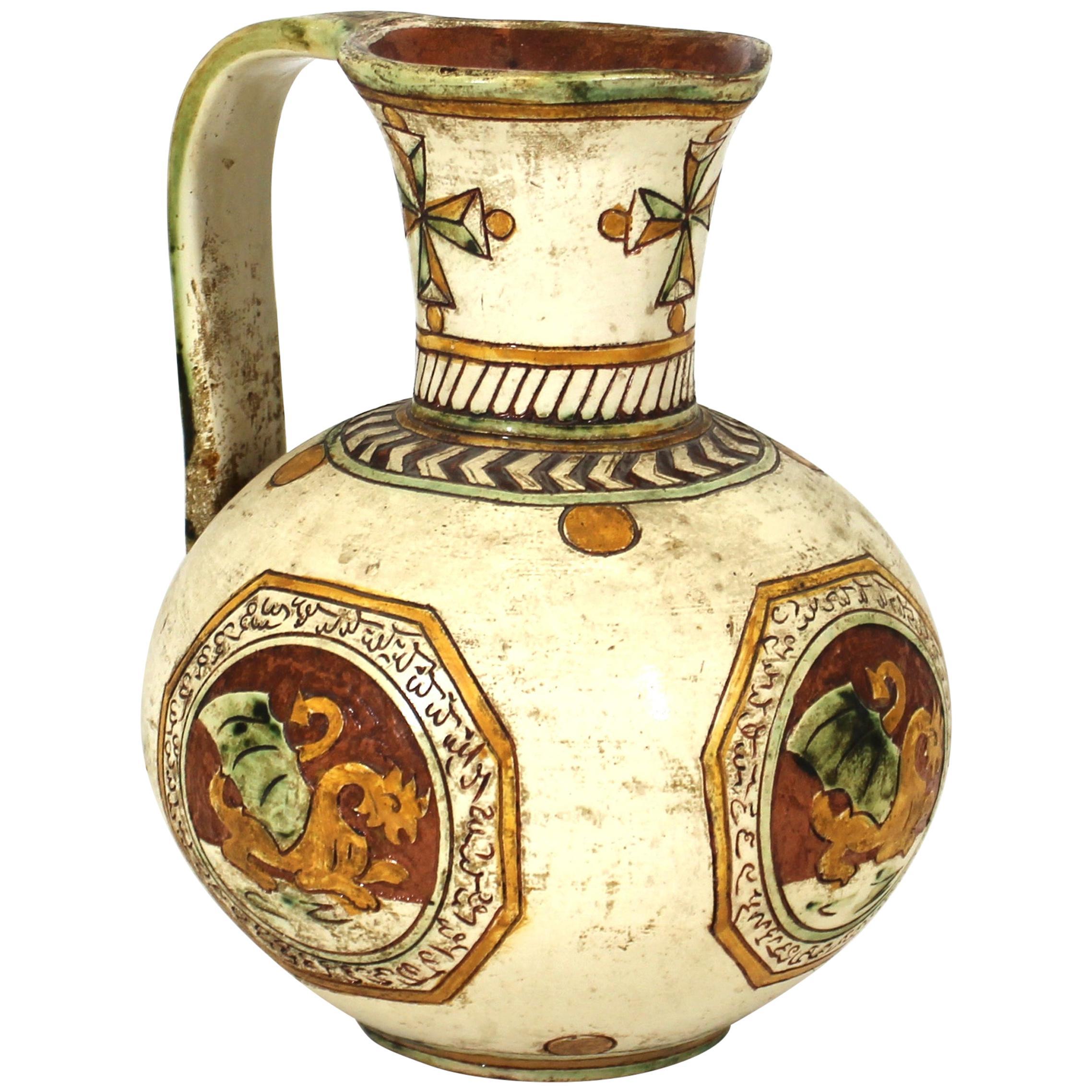 Italian Renaissance Revival Sgraffito Ceramic Pitcher with Dragon Motif