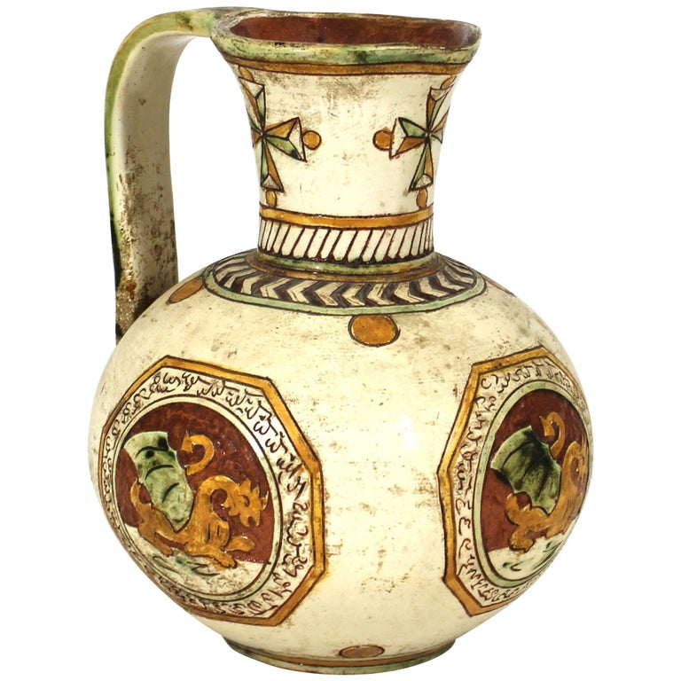 Italian Renaissance Revival Sgraffito Ceramic Pitcher with Dragon Motif For Sale