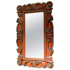 Italian Renaissance Revival Style Frame Mirror Carved and Lacquer Walnut Wood