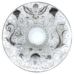 Italian Renaissance Revival Style Painted Glass Charger Plate