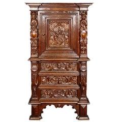 Italian Renaissance St. Mid-19th Century Oak Side Cabinet
