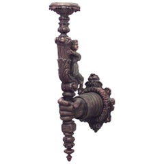 Italian Renaissance Style '19th Century' Carved and Painted Wall Sconce