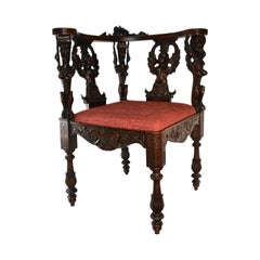 Italian Renaissance Style 19th Century Carved Mahogany Corner Chair