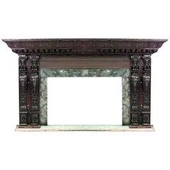 Italian Renaissance Style '19th Century' Large Carved Walnut Fireplace Mantel