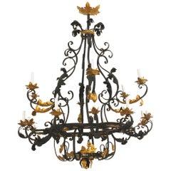 Italian Renaissance Style '20th Century' 18-Light Iron Chandelier