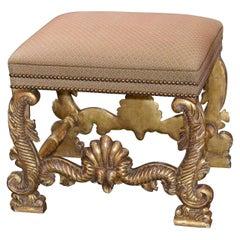 Italian Renaissance Style Carved Giltwood Stool