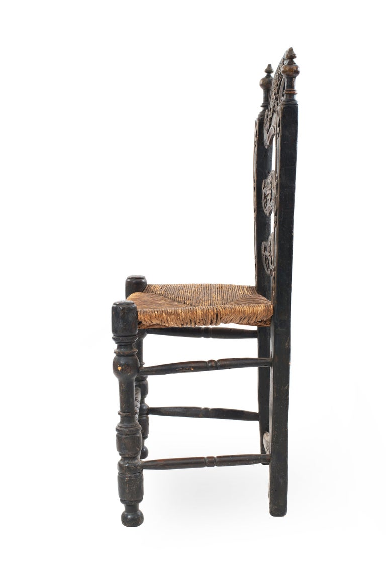 Hand-Carved Italian Renaissance Style Carved Ladder Back High Chair For Sale