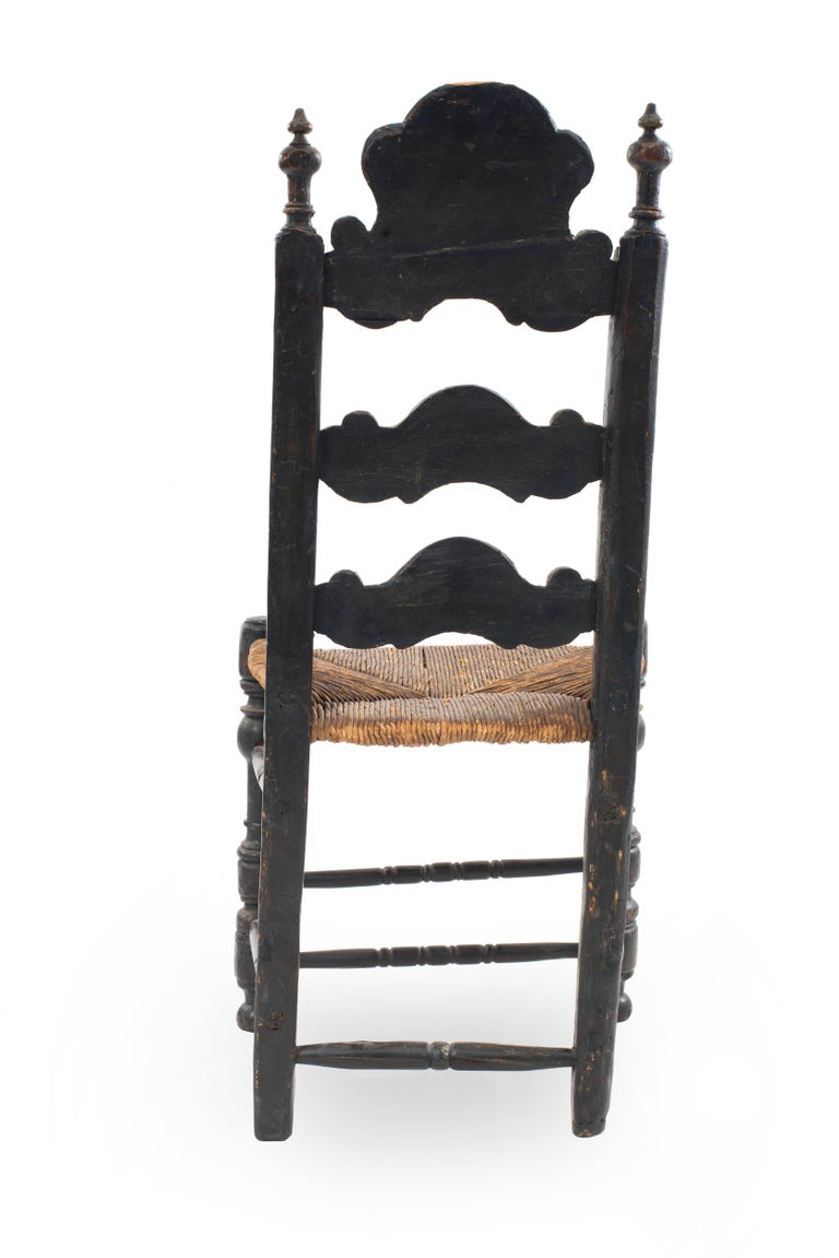 Italian Renaissance Style Carved Ladder Back High Chair In Good Condition For Sale In New York, NY