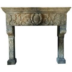 Italian Renaissance Style Fireplace Handcrafted Pure Limestone Antique Patina