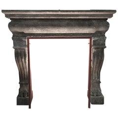 Italian Renaissance Style Fireplace Handcrafted Pure Limestone, Antique Patina