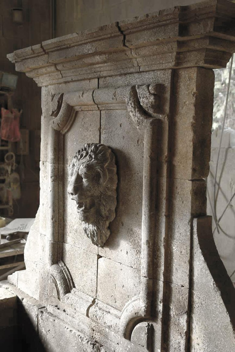 Italian Renaissance Style Fountain, Hand-carved Pure Limestone, Antique Patina For Sale 5