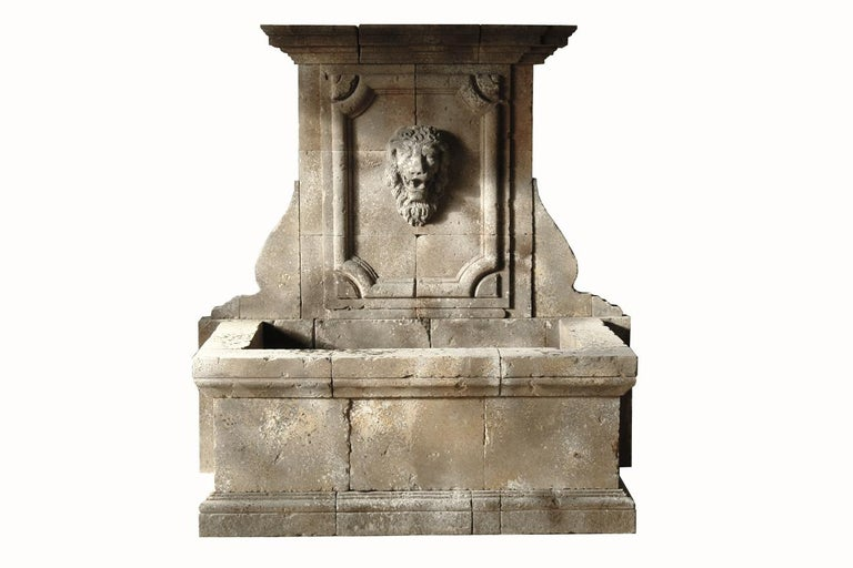 Italian Renaissance Style Fountain, Hand-carved Pure Limestone, Antique Patina For Sale 11