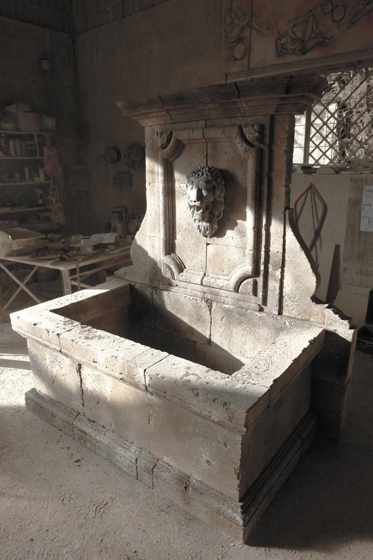 Hand-Carved Italian Renaissance Style Fountain, Hand-carved Pure Limestone, Antique Patina For Sale