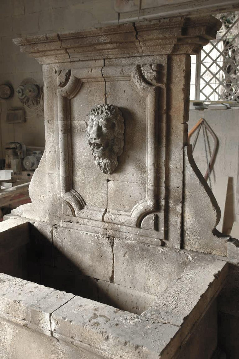 20th Century Italian Renaissance Style Fountain, Hand-carved Pure Limestone, Antique Patina For Sale