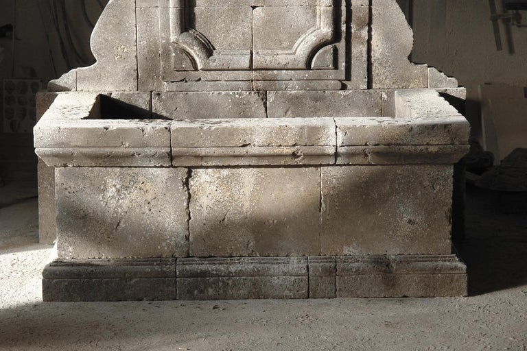 Italian Renaissance Style Fountain, Hand-carved Pure Limestone, Antique Patina For Sale 4