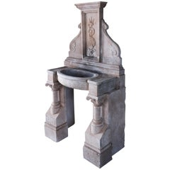 Italian Renaissance Style Fountain Hand-Carved in Pure Limestone Antique Patina