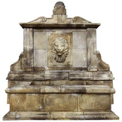 Italian Renaissance Style Fountain, Lions Central Head Water Fall, in Limestone