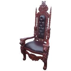 Italian Renaissance Style Mahogany Throne Chair