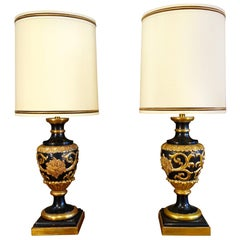 Italian Renaissance Style Pair of Tall Marbro Gilt Table Lamps, circa 1950