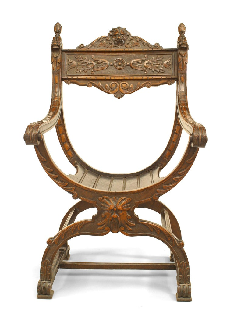 Italian Renaissance Style Savonarola Style Armchair For ...