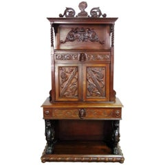 Carved Walnut Italian Secretary Desk Abatant with Griffin Supports