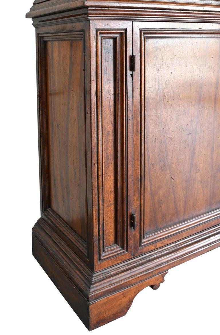 Italian Renaissance Style Walnut Bookcase Cabinet with Iron Quatrefoil Panels For Sale 4
