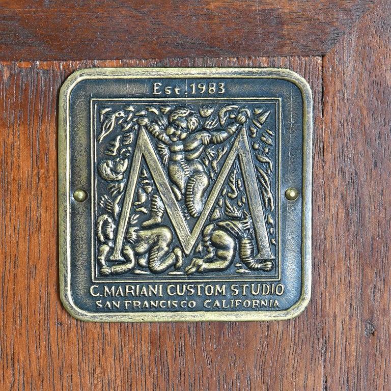 Italian Renaissance Style Walnut Bookcase Cabinet with Iron Quatrefoil Panels For Sale 11