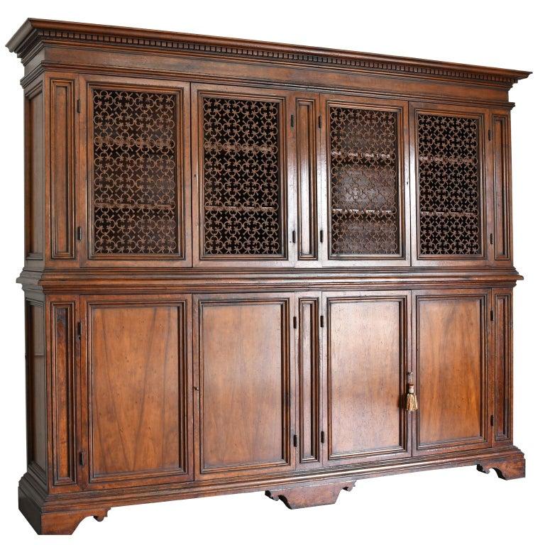 American Italian Renaissance Style Walnut Bookcase Cabinet with Iron Quatrefoil Panels For Sale