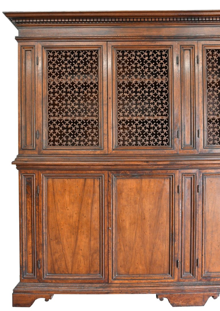 Italian Renaissance Style Walnut Bookcase Cabinet with Iron Quatrefoil Panels In Good Condition For Sale In Miami, FL