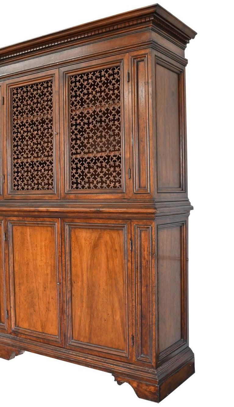Contemporary Italian Renaissance Style Walnut Bookcase Cabinet with Iron Quatrefoil Panels For Sale