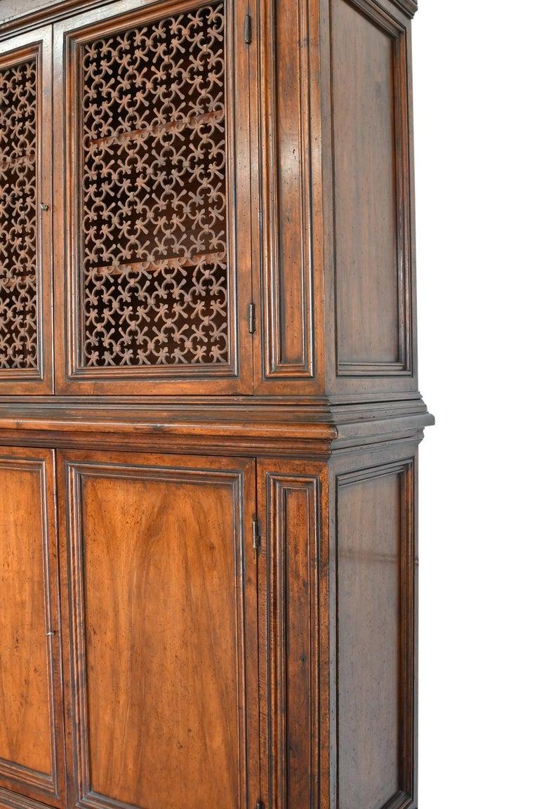 Italian Renaissance Style Walnut Bookcase Cabinet with Iron Quatrefoil Panels For Sale 1