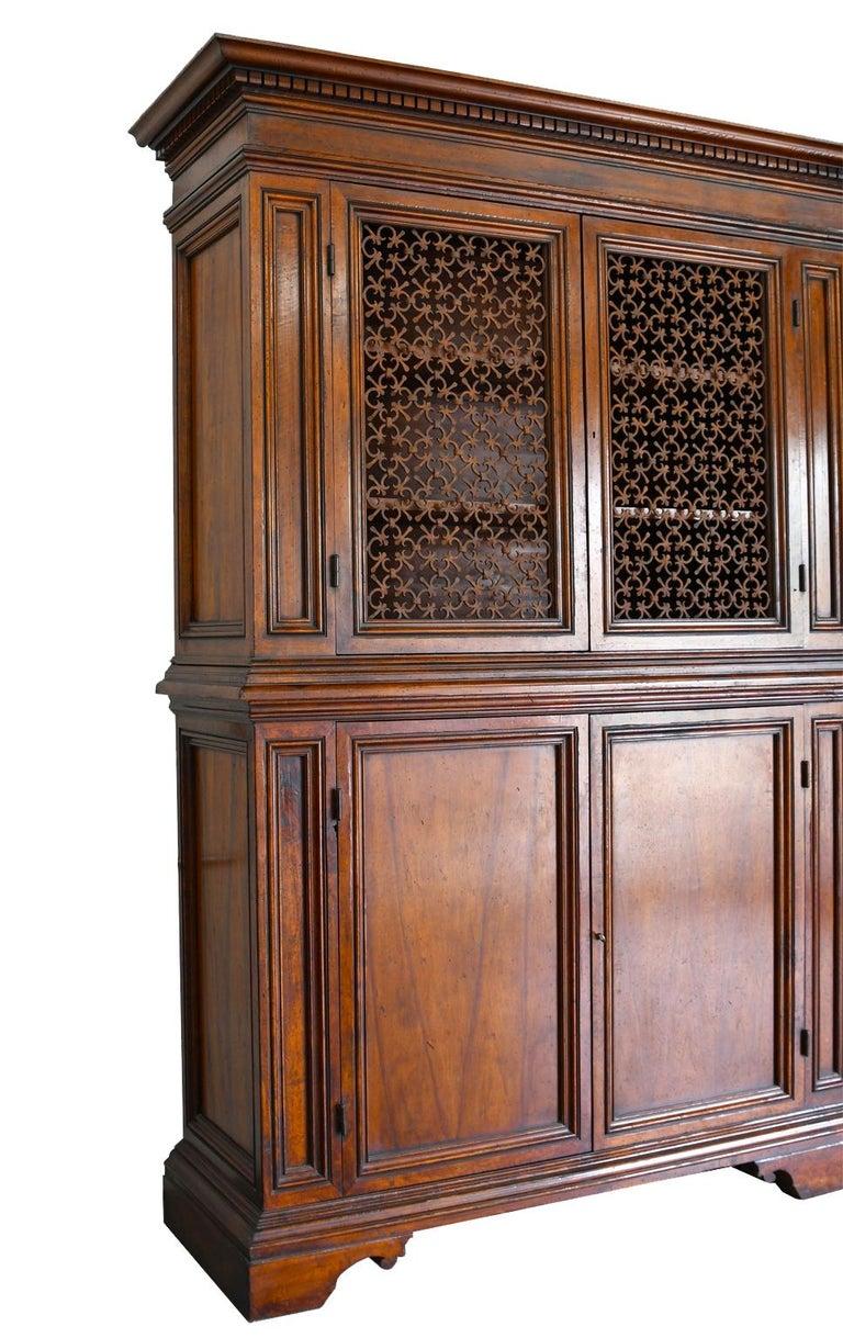 Italian Renaissance Style Walnut Bookcase Cabinet with Iron Quatrefoil Panels For Sale 2