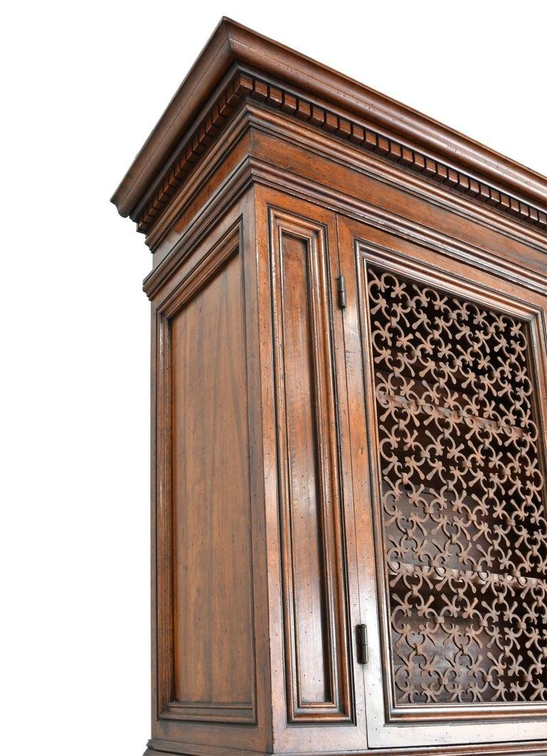 Italian Renaissance Style Walnut Bookcase Cabinet with Iron Quatrefoil Panels For Sale 3