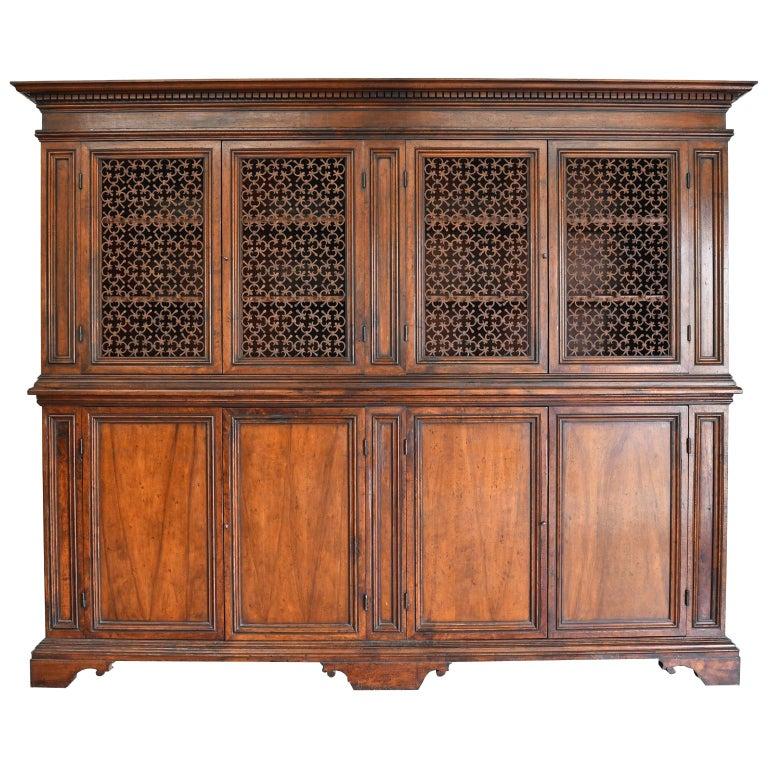 Italian Renaissance Style Walnut Bookcase Cabinet with Iron Quatrefoil Panels For Sale