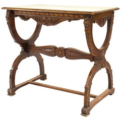 Italian Renaissance Style Walnut Carved Cross Leg End Table