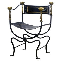Italian Renaissance Style Wrought Iron and Brass Savonarola Chair, 20th Century