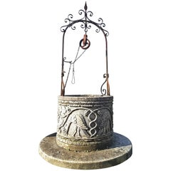 Italian Renaissance Style Wrought Iron Wishing Stone Well Head