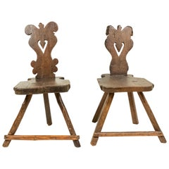 Italian Renaissance Walnut Sgabelli Side Chairs