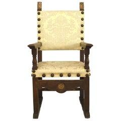Italian Renaissance Walnut Throne Style Armchair