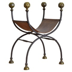 Italian Renaissance Wrought Iron, Bronze, and Leather Curule Form Chair