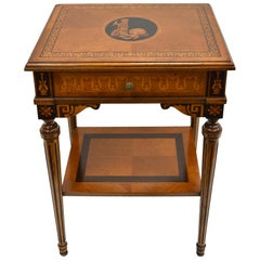 Italian Reproduction Side Table with Marquetry and Inlays by Baggio