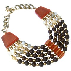 Italian Resin Beaded Bib Statement Necklace Designed by Pono c 1980s
