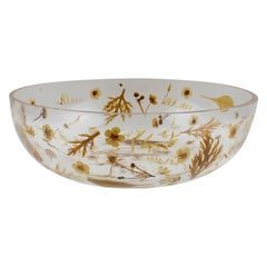 Italian Resin Bowl Centerpiece with Leaves and Flowers Inclusions, circa 1970