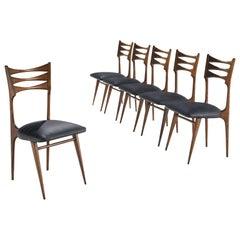 Italian Reupholstered Sculptural Walnut Dining Set