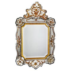 Italian Reverse Painted Gilded Hollywood Regency Style Mirror