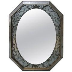 Italian Reverse Painted Octagon Mirror