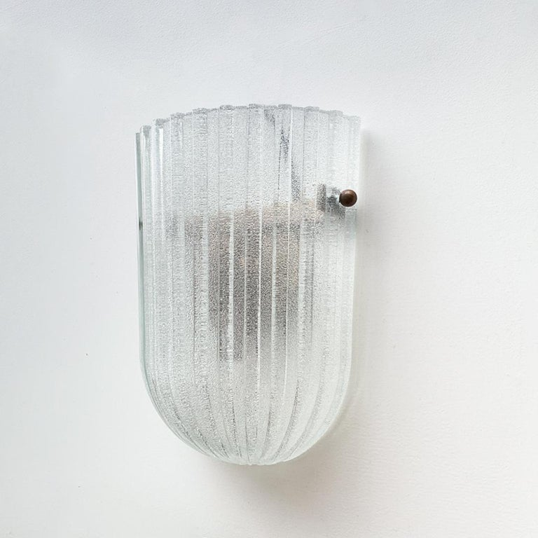 Italian Ribbed Glass Sconces In Good Condition For Sale In Los Angeles, CA
