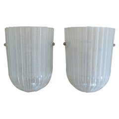 Italian Ribbed Glass Sconces