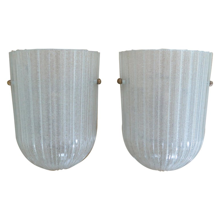 Italian Ribbed Glass Sconces For Sale