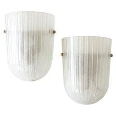 Italian Ribbed Glass Sconces